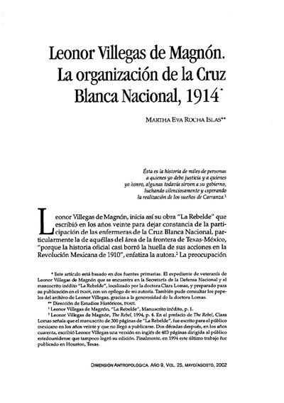 Leonor Villegas de Magnón. La organización de la Cruz Blanca Nacional, 1914