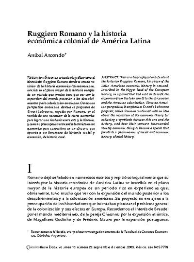 Ruggiero Romano y la historia económica colonial de América Latina
