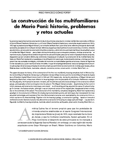 La construcción de los multifamiliares de Mario Pani: historia, problemas y retos actuales