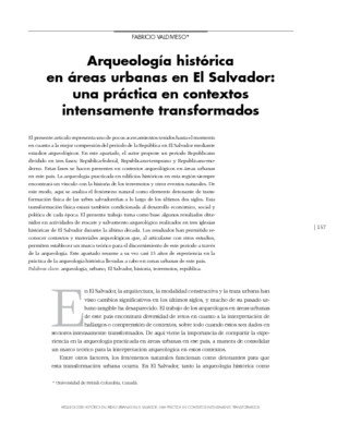Arqueología histórica en áreas urbanas en El Salvador: una práctica en contextos intensamente transformados