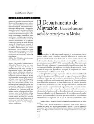 El Departamento de Migración. Usos del control social de extranjeros en México