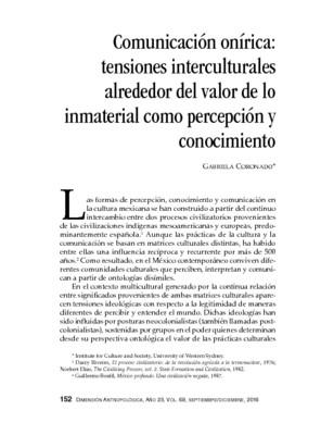 Comunicación onírica: tensiones interculturales alrededor del valor de lo inmaterial como percepción y conocimiento