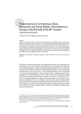 Three restorers of architecture, Boito, Giovannoni and Torres Balbás: interrelations in Europe in the first half of the 20th century