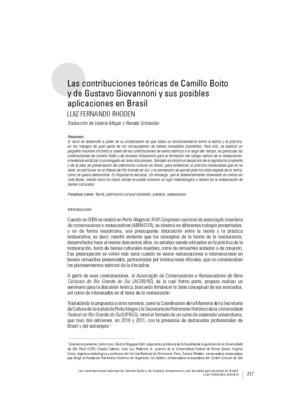 Las contribuciones teóricas de Camillo Boito y de Gustavo Giovannoni y sus posibles aplicaciones en Brasil