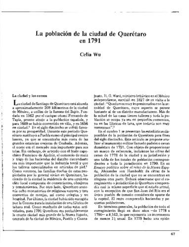 La población de la ciudad de Querétaro en 1791
