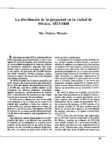 La distribución de la propiedad en la ciudad de México entre 1813 y 1848