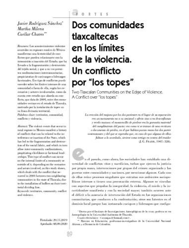 """Dos comunidades tlaxcaltecas en los límites de la violencia. Un conflicto por """"los topes"""""""