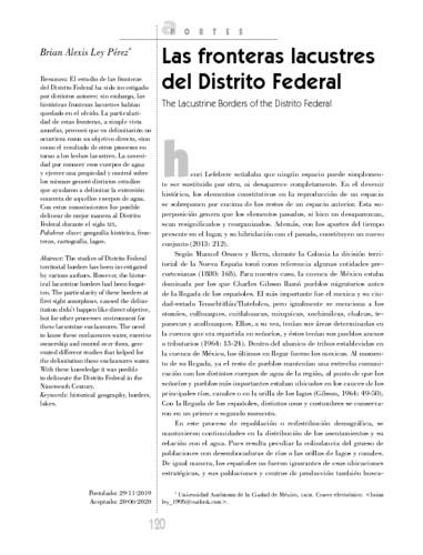 Las fronteras lacustres del Distrito Federal