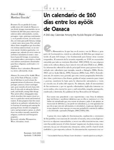 Un calendario de 260 días entre los ayöök de Oaxaca