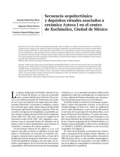 Secuencia arquitectónica y depósitos rituales asociados a cerámica Azteca I en el centro de Xochimilco, Ciudad de México