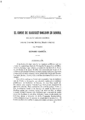 El Conde Raousset Boulbon en Sonora.- Relación inédita, escrita por el coronel Manuel María Jiménez.