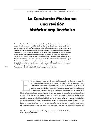 La Constancia Mexicana: una revisión histórica-arquitectónica