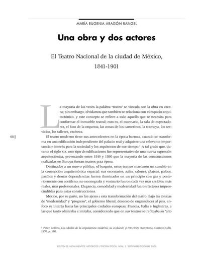 Una obra y dos actores El Teatro Nacional de la Ciudad de México, 1841-1901