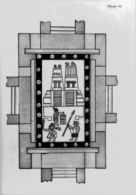 Códice Aubin, representación de la matanza de Tóxcatl, reprografía