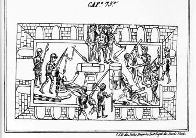 Códice Durán, matanza de la fiesta de Toxcatl, reprografía