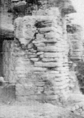Detalle constructivo de una pilastra del Templo el Conde, Palenque