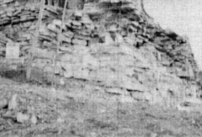 Reconstrucción del basamento correspondiente al adoratorio, El Conde, Palenque