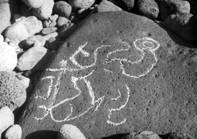 Vista de un petroglifo en Las Labradas
