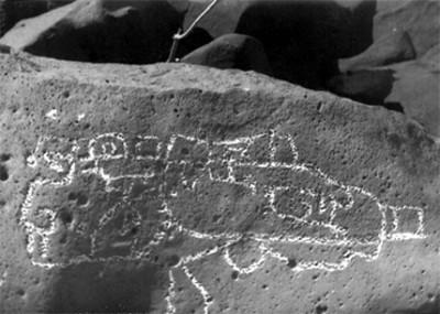 Petroglifo en las Labradas, acercamiento