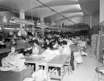 Mujeres operan máquinas de coser en una fábrica textil