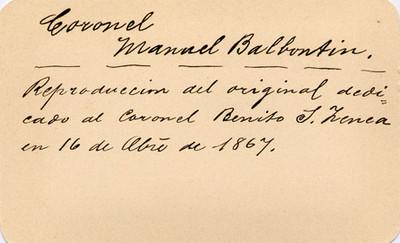 """Manuel Balbontin"", tarjeta de visita"