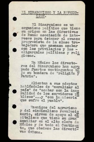 Memorias del general Lázaro Cárdenas: Año 1944, 1967. El Sinarquismo y la Revolución. Los bosques
