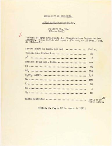 Vida laboral del general Lázaro Cárdenas: Aguas Sulfatadas-Sódicas. Análisis N. 144 (marzo 1945)