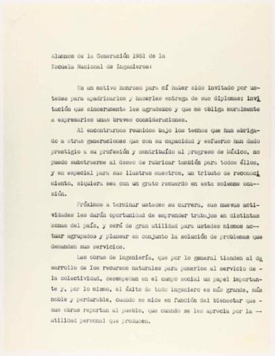 Vida personal del general Lázaro Cárdenas: Discurso a los alumnos de la generación 1951