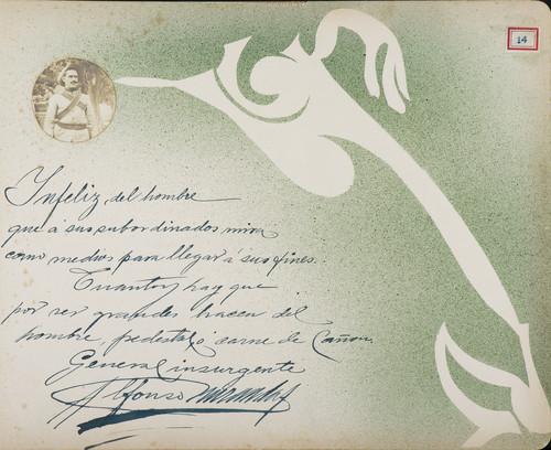 Lámina de Alfonso [M.], general insurgente, para Francisco I. Madero (atribuido)