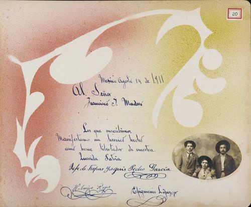 Lámina de Pedro García, Jefe de las tropas Yaqui, Hilario Reyes y Epigmenio López Jr. para Francisco I. Madero (atribuido)