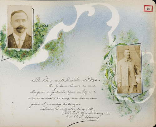 Lámina de Teniente Coronel Insurgente Emilio K. Llamas para Francisco I. Madero (atribuido)