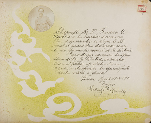 Lámina del Mayor Gertrudis G. [Sánchez] para Francisco I. Madero (atribuido)