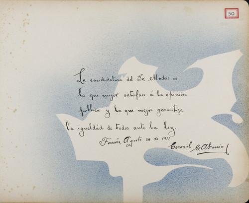Lámina del Coronel G. A. García para Francisco I. Madero (atribuido)
