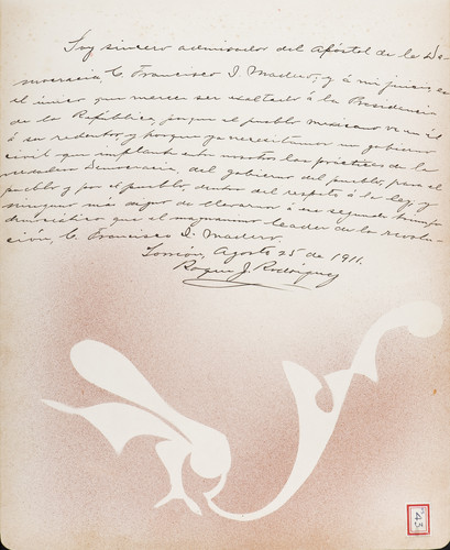 Lámina del Lic. Roque J. Rodríguez para Francisco I. Madero (atribuido)