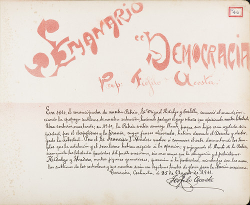 Lámina de Teófilo Acosta, prop. Del Semanario Democracia para Francisco I. Madero (atribuido)
