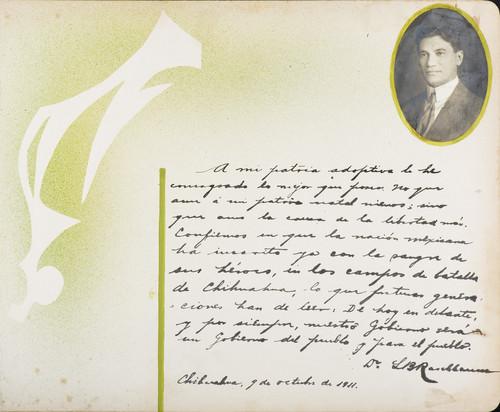 Lámina de Dr. L. B. Rasbi para Francisco I. Madero (atribuido)
