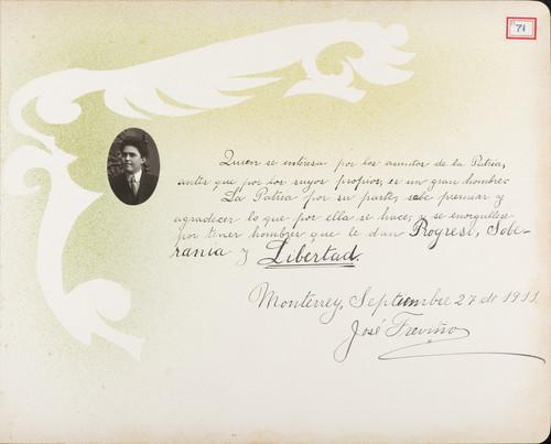 Lámina de José Treviño para Francisco I. Madero (atribuido)