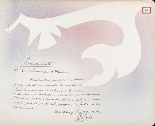 Lámina de [J. Farías] para Francisco I. Madero (atribuido)