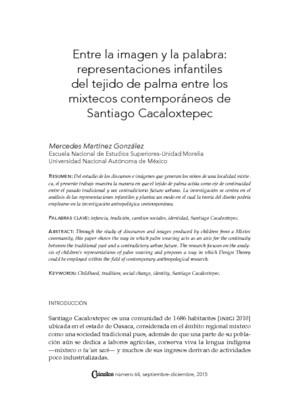 Entre la imagen y la palabra: Representaciones infantiles del tejido de palma entre los mixtecos contemporáneos de Santiago Cacaloxtepec