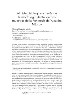 Afinidad biológica a través de la morfología dental de dos muestras de la Península de Yucatán, México