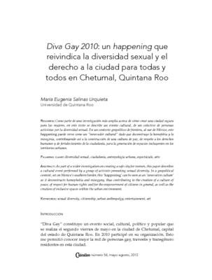 Diva Gay 2010: un happening que reivindica la diversidad sexual y el derecho a la ciudad para todas y todos en Chetumal, Quintana Roo