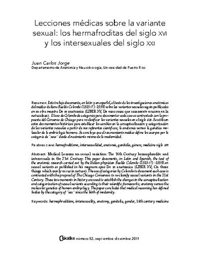 Lecciones médicas sobre la variante sexual: los hermafroditas del siglo XVI y los intersexuales del siglo XXI