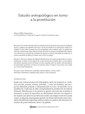 Estudio antropológico en torno a la prostitución
