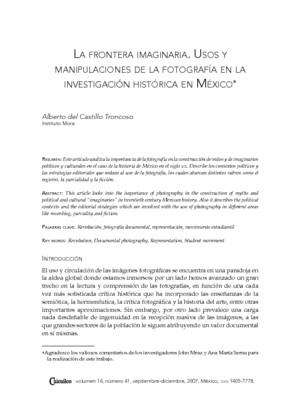 La frontera imaginaria. Usos y manipulaciones de la fotografía en la investigación histórica en México