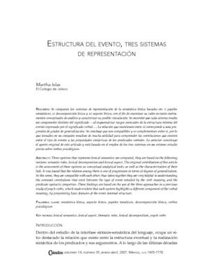 Estructura del evento, tres sistemas de representación