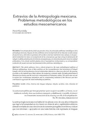 Extravíos de la Antropología mexicana. Problemas metodológicos en los estudios mesoamericanos