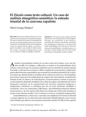 El Zócalo como texto cultural. Un caso de análisis etnográfico-semiótico: la entrada triunfal de la caravana zapatista