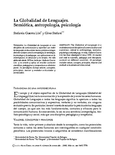 La Globalidad de Lenguajes. Semiótica, antropología, psicología