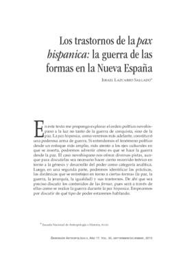 Los trastornos de la pax hispanica: la guerra de las formas en la Nueva España