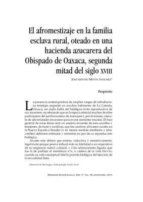 El afromestizaje en la familia esclava rural, oteado en una hacienda azucarera del Obispado de Oaxaca, segunda mitad del siglo XVIII.